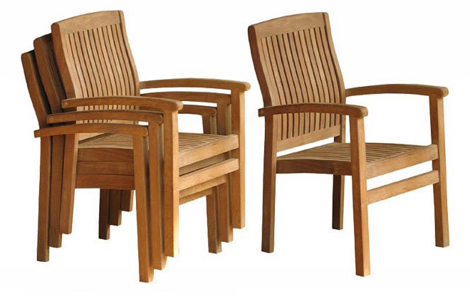 Stacking chairs in teak
