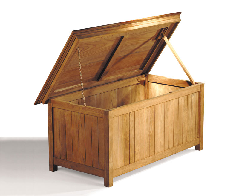 Large deep storage box in solid teak for your garden essentials