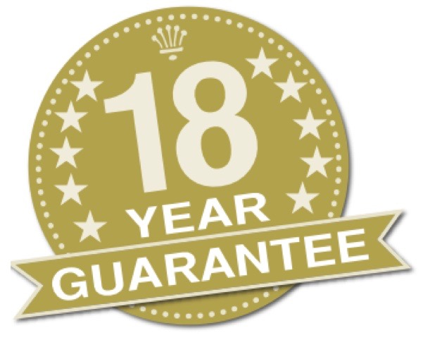 18 year guarantee roundel in gold