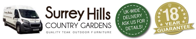 The Surrey Hills Country Gardens logo including the 18 year guarantee roundel