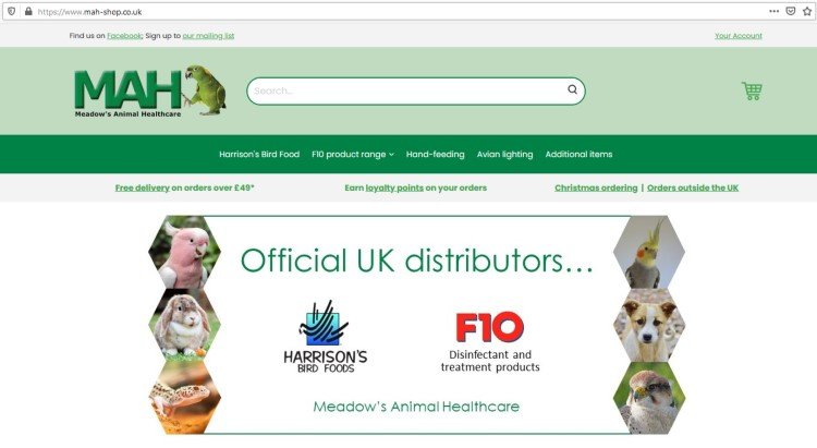 A screenshot of the Meadow's Animal Healthcare online shop