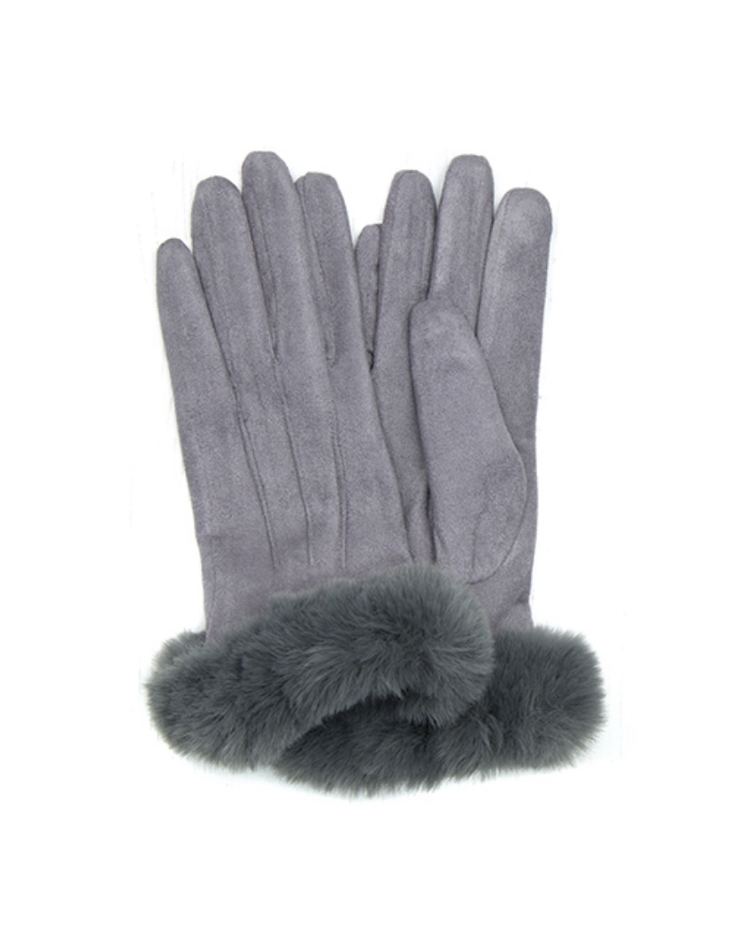 Grey Gloves with Faux Fur Cuff