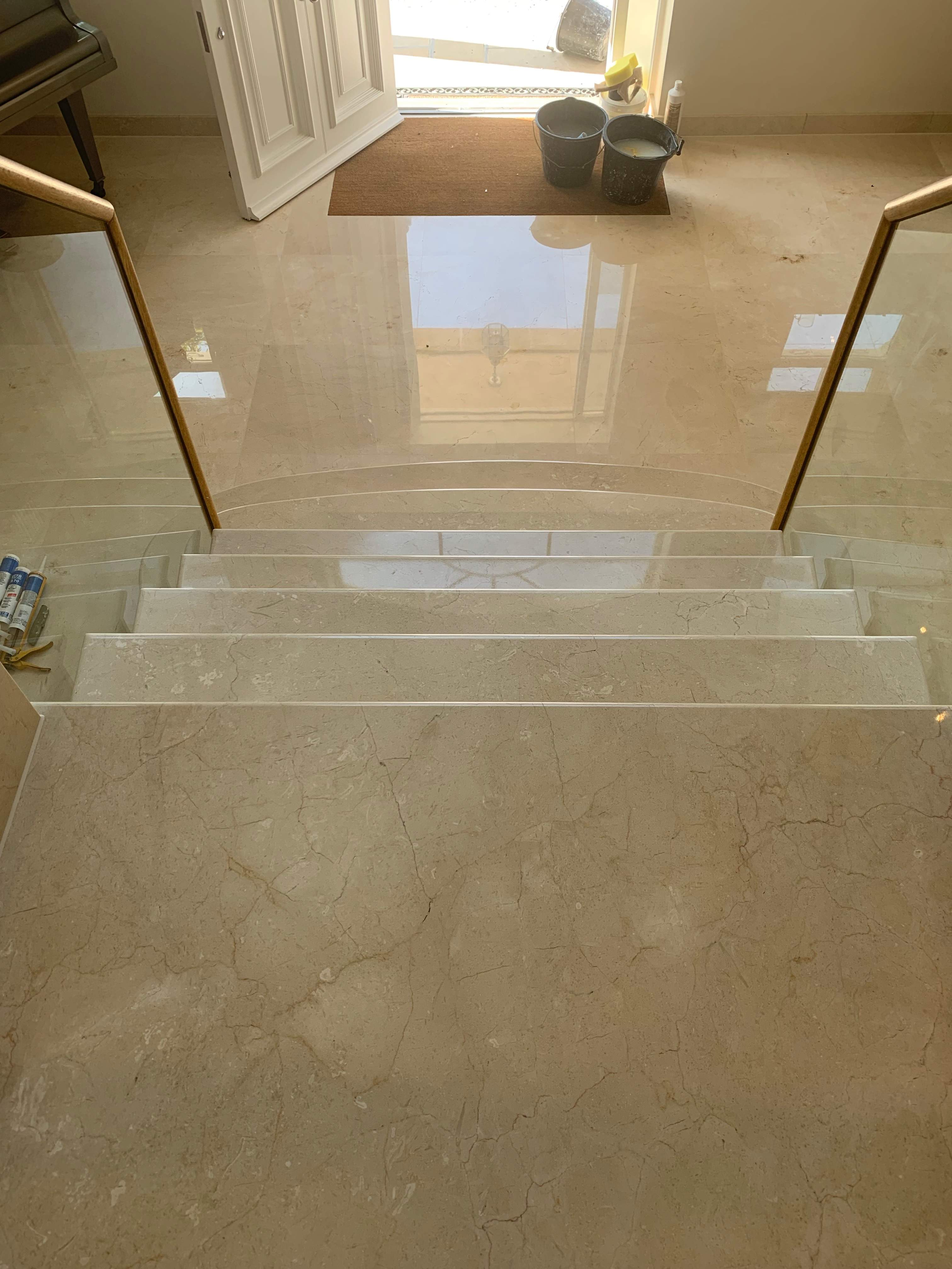 polishing marble steps