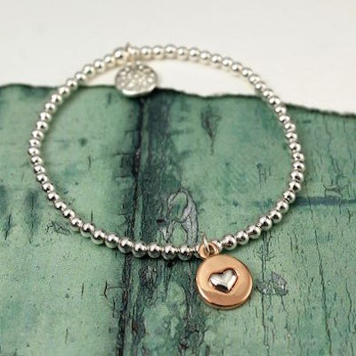 Stretchy Silver Bracelet with Rose Gold Heart Disc