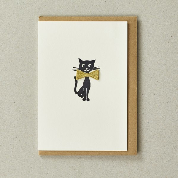 Cat Card with Gold Iron-On Bow Tie Patch