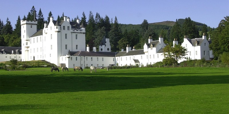 Blair Castle, a beautiful white baronial Scottish castle