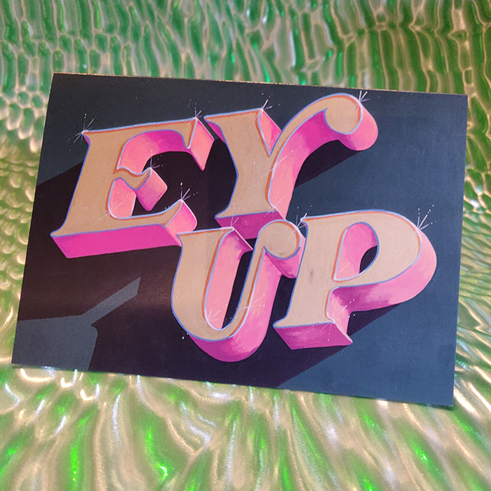SALE- 'EY UP' Greetings Card with rainbow envelopes envelopes x10