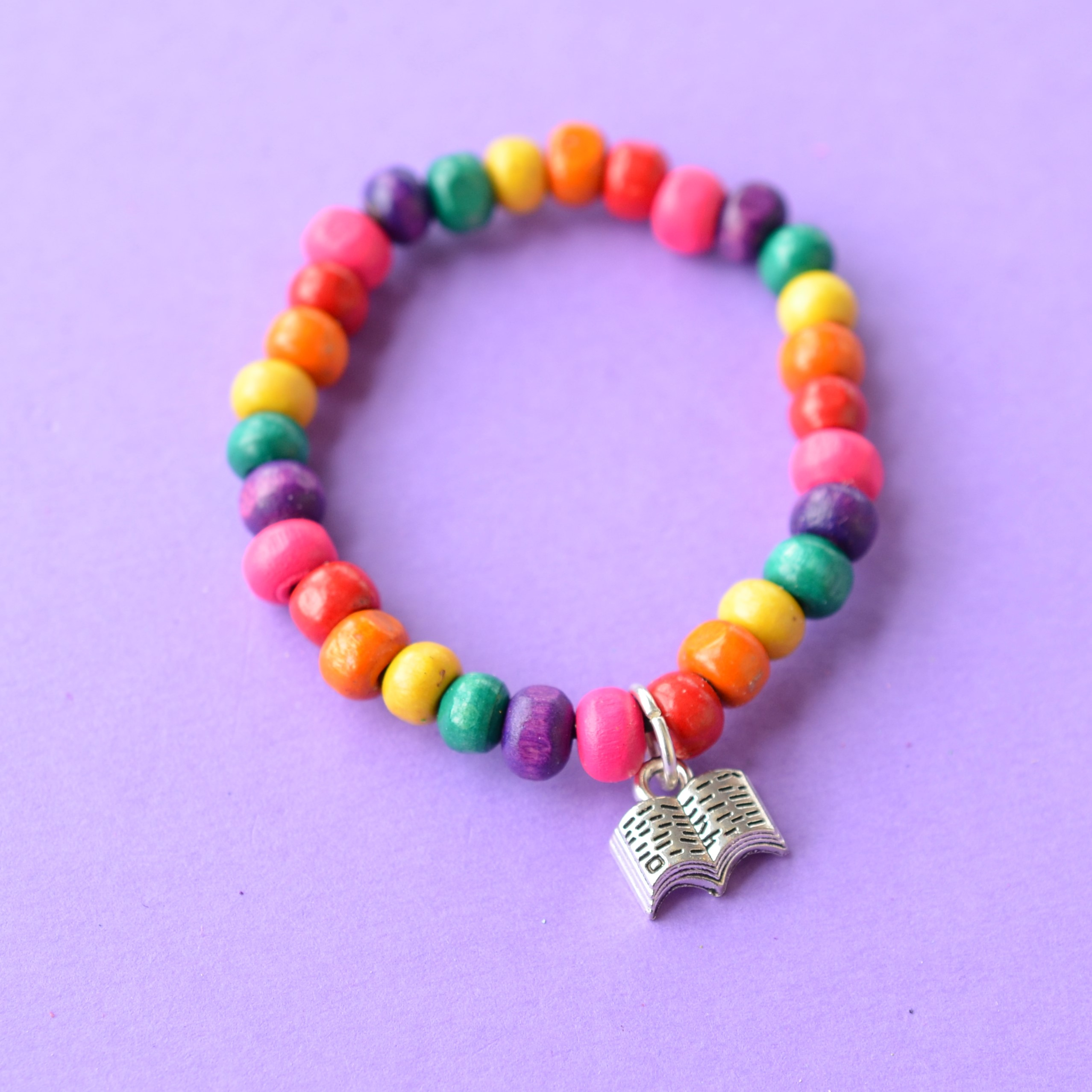 Book Colourful Child's Wooden Bead Charm Bracelet Reading